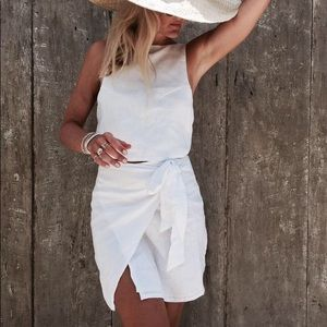 LINEN wrap skirt in white